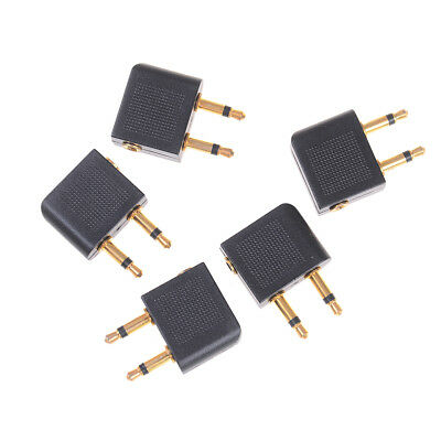 £4.89 • Buy 5Pcs 3.5mm Pro Airline Airplane Golden Plated Headphone Jack Plug Adapter_JO