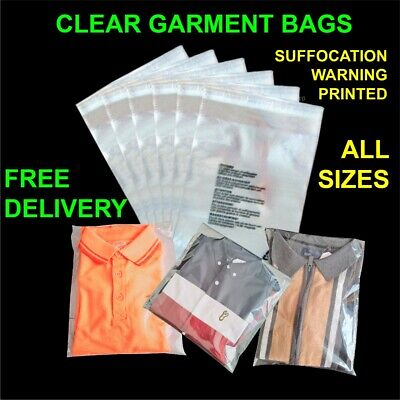 £0.99 • Buy Clear Garment Bags Cello Plastic Self Seal Packaging For  Clothing T-Shirts Etc