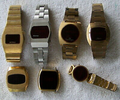 $ CDN15.12 • Buy Lot Of 7 Vintage Red Led Watches Marcel Benrus & More