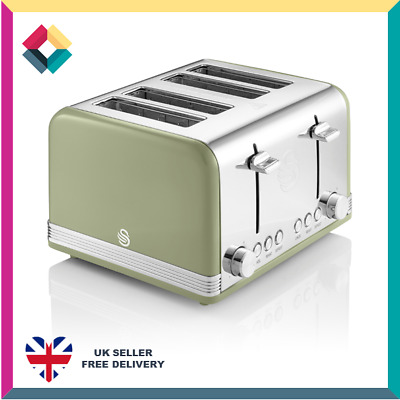 £34.99 • Buy Swan ST19020GN 1600W 4 Slice Retro Toaster, Green - New Item Box Damaged