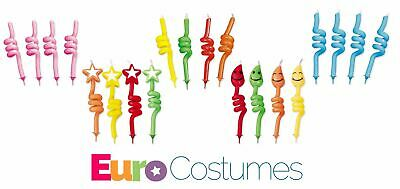 £1.50 • Buy Spiral Curly Shaped Novelty Candles + Holders 5 Designs Birthday Cake Decoration