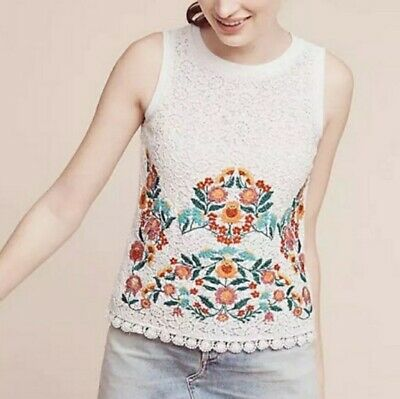 $ CDN74.67 • Buy MAEVE Anthropologie Floral Embroidered Lace Crochet Tank Top Women's Small NWT