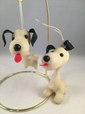 $ CDN15.72 • Buy Lot Of 2 Vintage Plastic White Beagle Dog Sugared Christmas Ornaments Snoopy