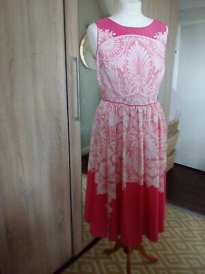 £10 • Buy MONSOON WHITE/CORAL RED FIT & FLARE Wedding Occasion Party DRESS SIZE 12