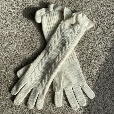 £5.50 • Buy Tommy Hilfiger Cream Cable Knit Elbow Length Gloves - New Without Tags