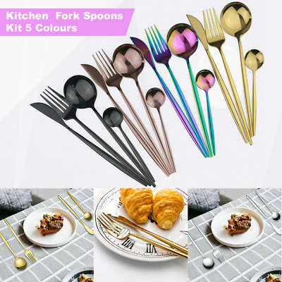 £20.99 • Buy Stainless Steel Cutlery Sets Tableware Dining Kitchen Fork Spoons Kit 5 Colours