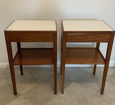 £139.95 • Buy Pair Of Mid Century Remploy Bedside Tables. Solid Teak With Formica Tops, 1970s