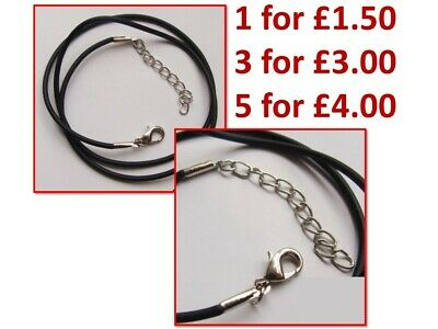 £1.50 • Buy Round Black 2mm Leather Cord Adjustable Necklace String With Lobster Clasp