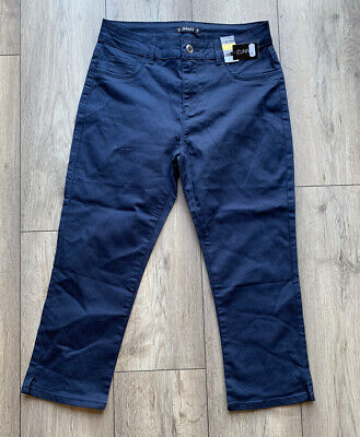 £7 • Buy BNWT Dunnes Size 10 Navy Blue Cropped Trousers Slim Fit Capri