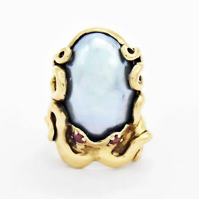 $465.74 • Buy 10k Yellow Gold Ornate Ruby Eyes Octopus Mabe Pearl Ring Size 7