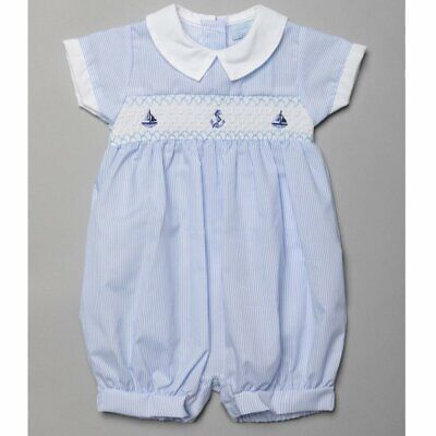 £11.99 • Buy Baby Boys Clothes Spanish Style Anchor Smocked Romper Cotton  0-9 Months
