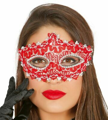 £4.99 • Buy Womens Red & Silver Decorated Eye Mask Masquerade Ball Fancy Dress Accessory