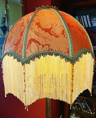 £290 • Buy Tiffany, Victorian Vintage Downton Beaded Lampshade.terracotta & Gold Damask 22