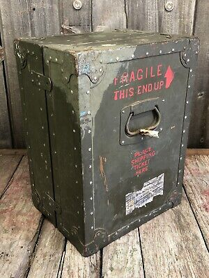 $395 • Buy Vintage Military Shipping Trunk Case Container Steampunk Repurpose Great Look