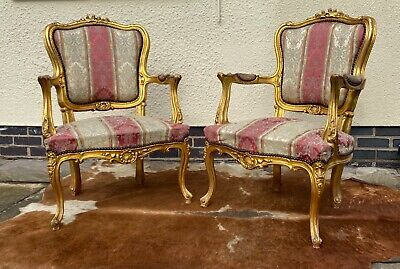 £395 • Buy Pair Of Vintage French Louis Xvi Style Gilt Wood Armchairs Chairs C1950/60