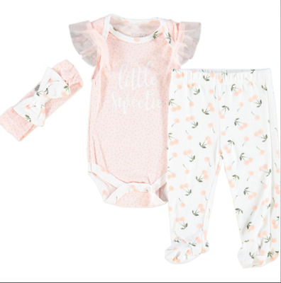 £13 • Buy Kyle & Deena Baby Girls White & Coral Patterned 3 Pc Baby Set 0-3, 3-6 & 6-9 Mth