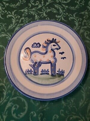 $16 • Buy  M A Hadley 11  Horse Pony Stoneware Dinner Plate Handpainted Blue