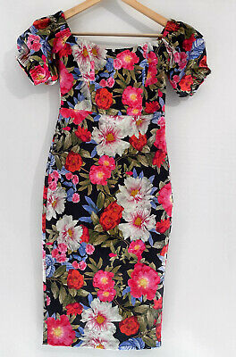 AU39 • Buy FOREVER NEW Olivia Floral Off The Shoulder MIDI Pencil Dress Size 6 As New