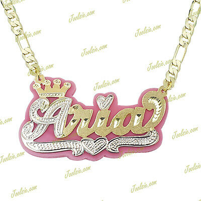 £26.33 • Buy Personalized 14k Gold Plated  Any Color Background Crown Name Necklace