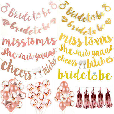 £2.99 • Buy Bride To Be Ring Miss To Mrs Glitter Banner Bunting Hen Wedding Party Decoration