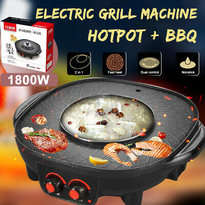 £32.99 • Buy 2in 1 Electric Grill Pan Hot Pot BBQ Cooker Portable Indoor Or Out 1800W Camping