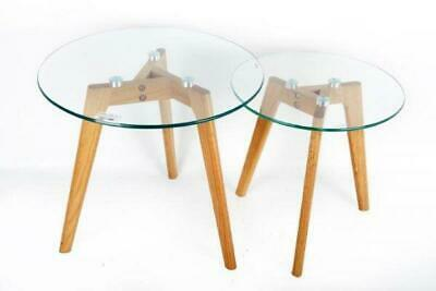 £55.99 • Buy Set Of 2 Glass Top With Oak Legs Side Nest Tables Home Office Decoration