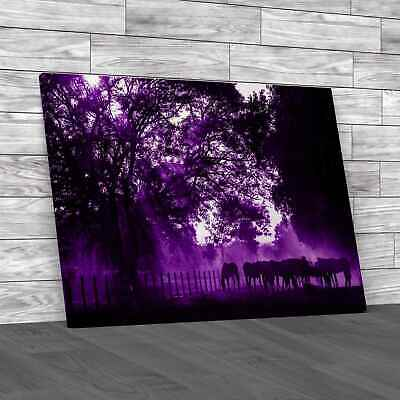 £16.95 • Buy Golden Light In The Stables Purple Canvas Print Large Picture Wall Art