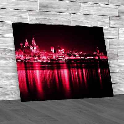 £12.95 • Buy Night Time Liverpool City Reflections Pink Canvas Print Large Picture Wall Art