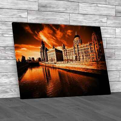 £18.95 • Buy The Three Graces Of Liverpool Orange Canvas Print Large Picture Wall Art