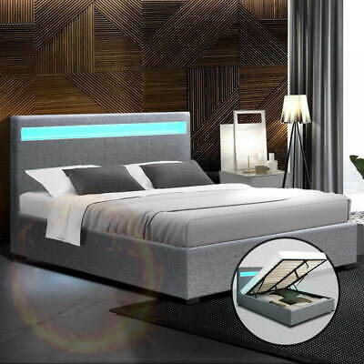 AU328.51 • Buy Artiss Cole Gas Lift Double Bed Frame With Storage LED Lighting Faux Linen