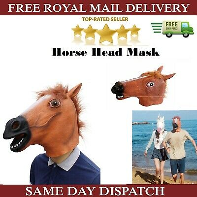 £9.45 • Buy Rubber Horse Head Mask Panto Fancy Dress Party Cosplay Halloween Adult Costume