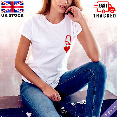 £8.21 • Buy Womens Queen Of Playing Cards Poker Deck T-Shirt Ladies Couples Matching Tee Top