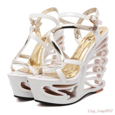 £41.96 • Buy Womens Wedge Butterfly Wings Hollow Heel Platform Party Shoes Prom Pumps New @