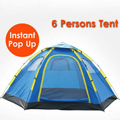 AU53.59 • Buy 6 Person Camping Tent Instant Pop Up Camping Hiking Fishing Sets Up In Seconds