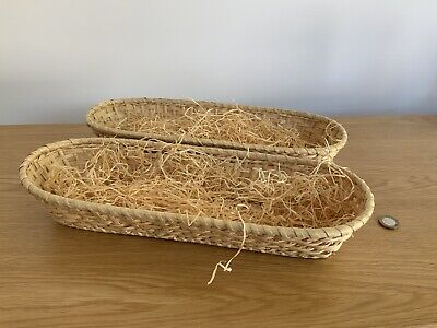 £18.99 • Buy 2 X Oval Wicker Baskets & Straw - Easter Hampers, Eggs, Gifts, Storage