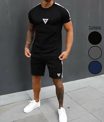 £13.99 • Buy Mens Summer Short Sleeve T-Shirt & Shorts Twin Suit Sports Tracksuit 2pc Running