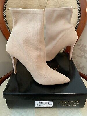 £40 • Buy Lipsy Knitted Sock Neutral/Nude Pointed Ankle Boots Size 7(40)BNWB RRP £75.00