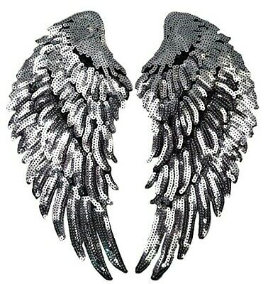 £3.99 • Buy Angel Wings Patch Silver Sequins Love Gold Iron On Size: 27 Cm X 13 Cm