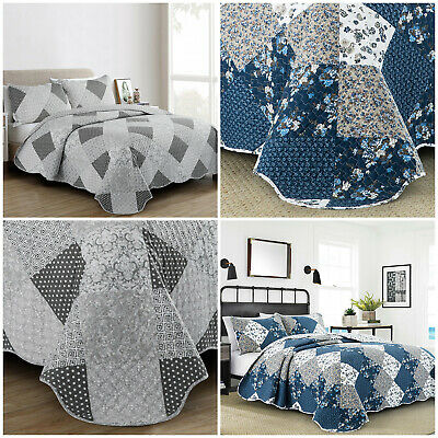 £30.99 • Buy 3 Piece Patchwork Quilted Bedspread Bed Throw Double King Size With Pillow Shams