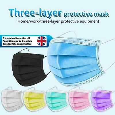 £4.49 • Buy 1-100pcs 3 Ply Disposable Protective Face Masks - Non Surgical/medical - Colours
