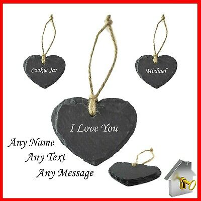 £3.99 • Buy Engraved Slate Hanging Small Heart Shape Gifts Name Tag Rustic Natural Plaque