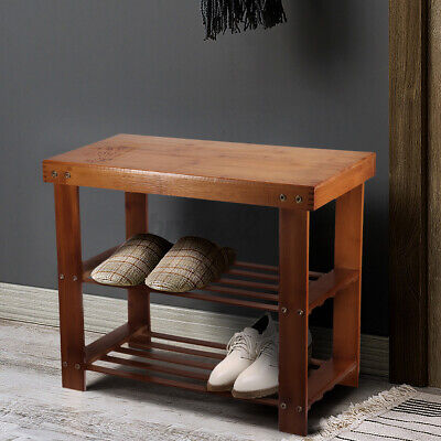 AU34.20 • Buy 2 Tier Bamboo Shoe Bench Rack Stand Cabinet Wooden Storage Shelf Stand Organise
