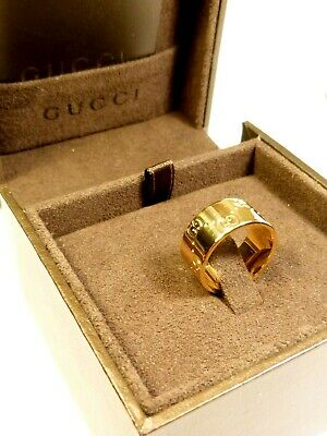£550 • Buy RARE GENUINE GUCCI 18ct 18K 750 GOLD WIDE ICON RING - BOXED 9.2g UK L½