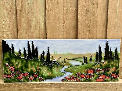 £19.99 • Buy Ceramic Wall Art Tile Picture Plaque Red Poppies River Trees Scenery 16 X 6 Inc