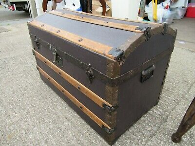 £109 • Buy Vintage Sea Captain's Style Dome Top Wooden Metal Chest/Trunk/Storage/Toy Box