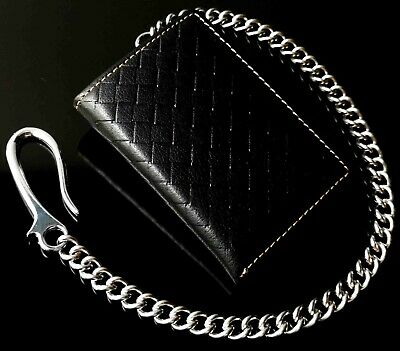 $ CDN18.21 • Buy Men's RFID Genuine Leather Trifold Chain Wallet With Id Window & Credit Card