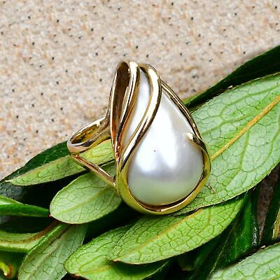 $362.24 • Buy 14k Yellow Gold Modern Style Teardrop/Pear Mabe Pearl Ring Size 6.75