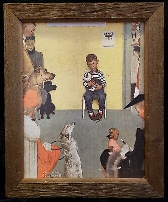$ CDN36.53 • Buy At The Vet's Office By Norman Rockwell Canvas Print Vintage Rustic Wood Frame