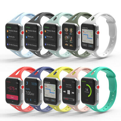AU5.49 • Buy Sport Silicone Strap Band Skinny For Apple Watch Series SE 6 5 4 38 40 42 44 Mm