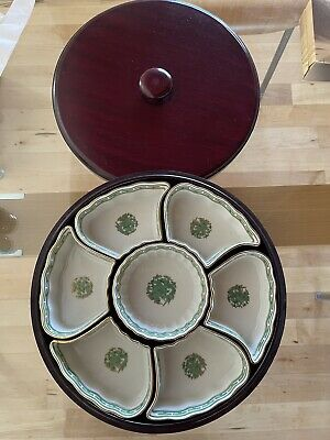 £24.99 • Buy LAZY SUSAN Hong Kong  HANDPAINTED  7-Pcs China Set On WOODEN TURNTABLE With Lid